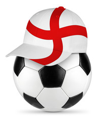 Classic black white leather soccer ball with england english flag baseball fan cap isolated background sport football concept