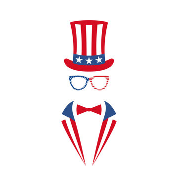 Portrait of man in glasses, tuxedo and hat of Uncle Sam. National holiday in United States of America Independence Day. Vector illustration.