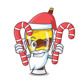 Santa with candy mangonada fruit mascot cartoon