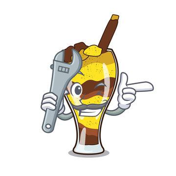 Mechanic mangonada fruit mascot cartoon
