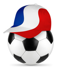 Classic black white leather soccer ball with france french flag baseball fan cap isolated background sport football concept