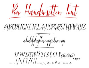 Pen lettering vector alphabet with numbers and punctuation. Modern calligraphy, handwritten letters. Vector illustration