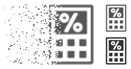 Fractured tax calculator pixel icon with disintegration effect. Halftone pixelated and undamaged solid grey variants. Dots have rectangle shape.