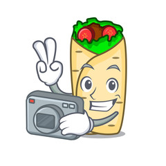 Photographer burrito mascot cartoon style