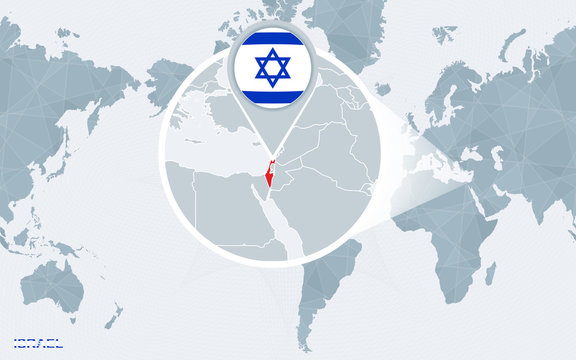 World map centered on America with magnified Israel.