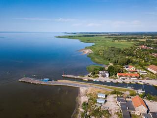 Aerial: Pier in Frombork, Poland