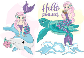 Sea Ocean Tropical Summer Vector Colorful Illustration MERMAID TURTLE art projects, prints, T-shirts, posters, bags, scrapbooking, cardmaking, planner stickers, postcards, invitations, fabrics