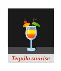 Tequila sunrise cocktail menu item or any kind of design