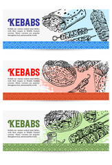 Voucher design, Hand drawn Turkish food, Vector Illustration