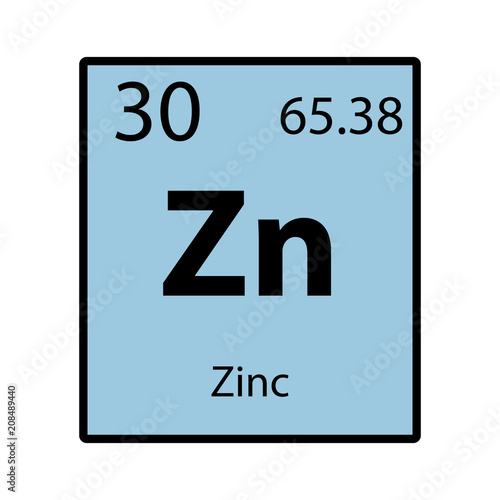 Zinc Periodic Table Element Color Icon On White Background Vector