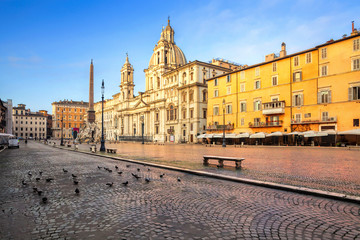 Piazza Navona square in Rome, Italy. Built on the site of the Stadium of Domitian in Rome. Rome architecture and landmark.