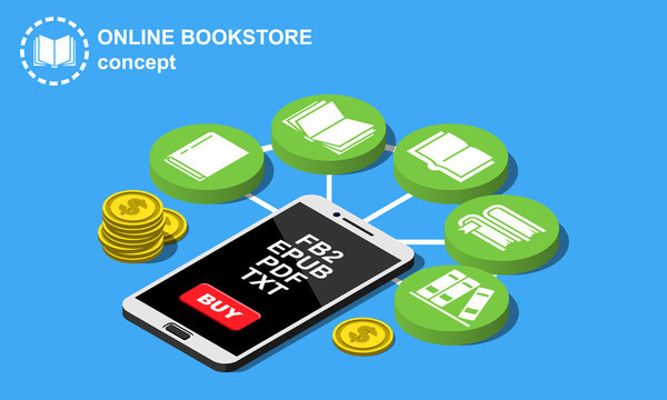 Isometric bookstore concept with infographic flowchart vector illustration.