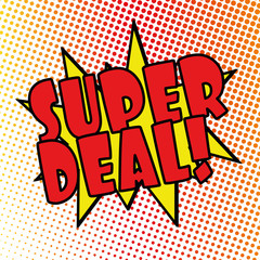 super deal comic explosion retro design deal tag