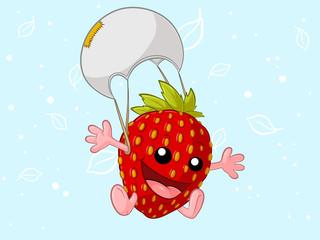 Glückliche Erdbeere mit Fallschirm
