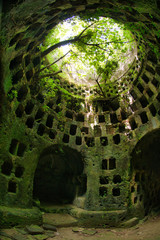 The Hypogeum of Torre Pinta, a circular dovecot tower, built in a settlement, perhaps of Christian people, dating back to the previous age, for its Latin cross shaped plan.  Otranto, Apulia Italy.