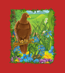 cartoon scene with beautiful bird on the meadow - eagle - illustration for children