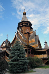 Wooden architecture. Kremlin in Izmailovo, Moscow. Color photo.