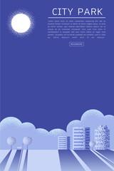 Beautiful City Park Vector texture style concept illustration.
