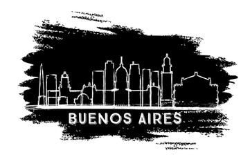 Buenos Aires Argentina City Skyline Silhouette. Hand Drawn Sketch.