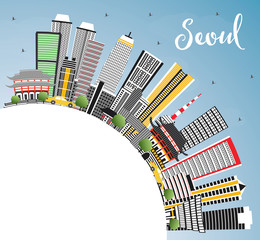 Seoul Korea Skyline with Color Buildings, Blue Sky and Copy Space.