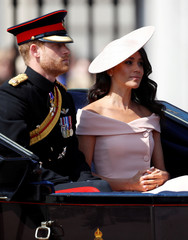 Britain's Prince Harry and Meghan, Duchess of Sussex, take part in the Trooping the Colour parade in central London