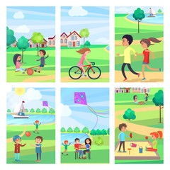 Active Rest in Urban Park Poster Illustrations