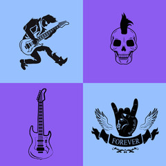 Forever Rock Music Icons on Vector Illustration