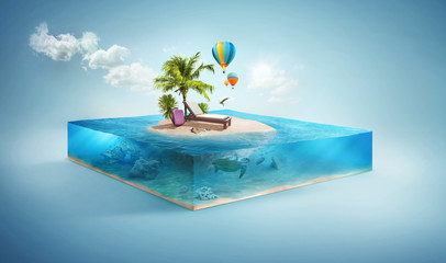 Travel and vacation background. 3d illustration with cut of the sea and beautiful island. Baby island isolated on white. Wall mural