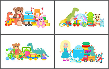Doll and Teddy Bear Collection Vector Illustration