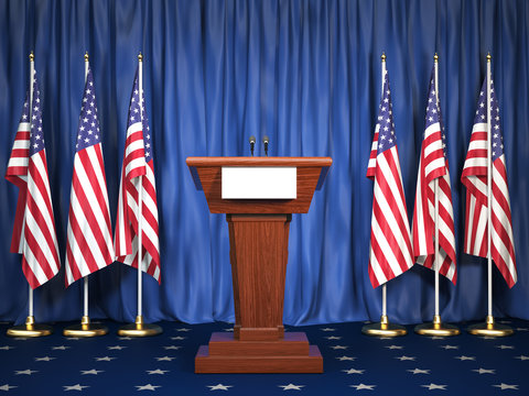 Podium speaker tribune with USA flags. Briefing of president of United states in White House. Politics concept.