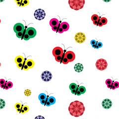 Butterfly and flowers printing design