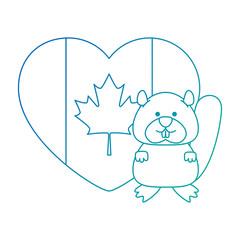 cute canadian marmot with heart vector illustration design