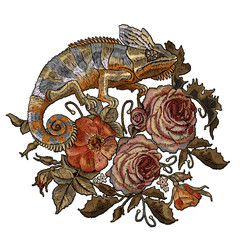 Classic style embroidery, beautiful chameleons, red roses and pink peonies. Embroidery color chameleons, wild red roses and peonies