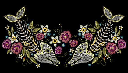 Embroidery summer flowers and skeleton of fish, sea art seamless pattern. Fashionable template for design of clothes, t-shirt design. Embroidery fish bone and flowers, gothic art background