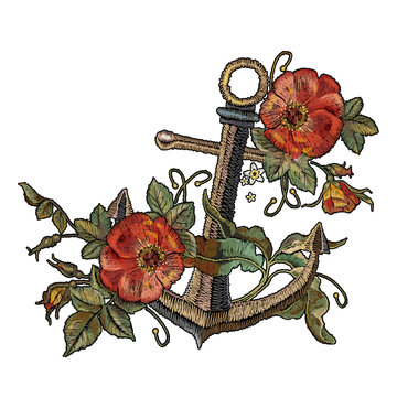 Classical fashionable embroidery anchor, beautiful red roses template for clothes, textile t-shirt design. Embroidery anchor and red roses embroidery