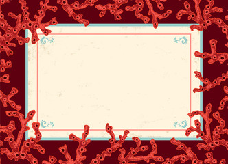 Red corals with vintage banner.