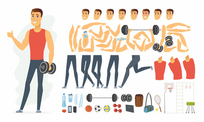 Sportsman - vector cartoon people character constructor