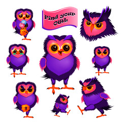 Set of 8 isolated characters of owl.