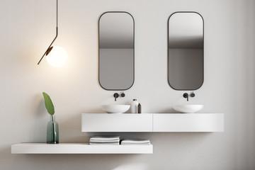 White bathroom interior, marble sink