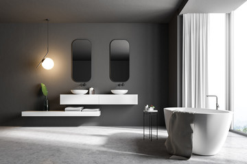 Gray bathroom interior, marble sink and tub