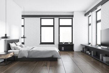 White and brick bedroom interior, side view