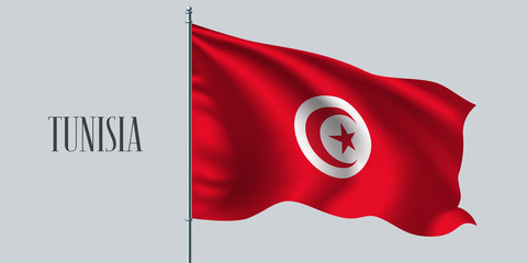 Tunisia waving flag vector illustration