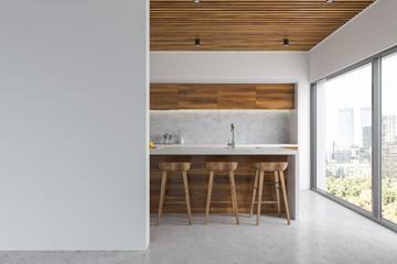 White and wooden kitchen, bar