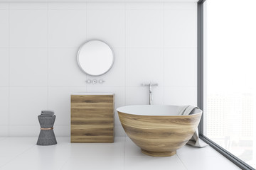 White bathroom interior, wooden tub and sink, side
