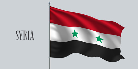 Syria waving flag on flagpole vector illustration