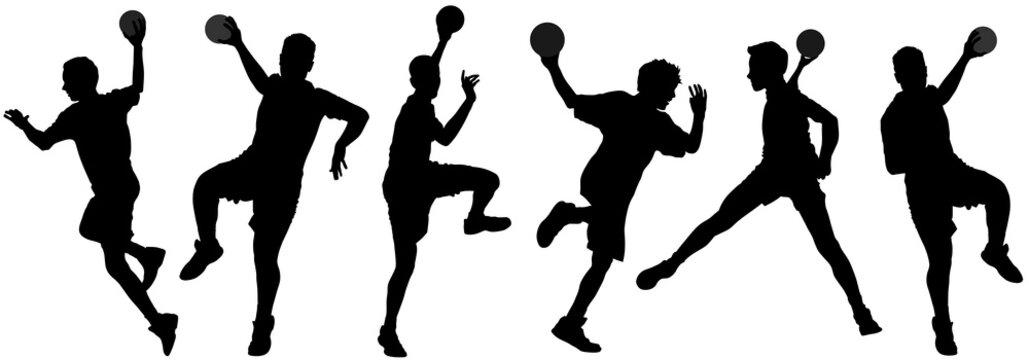 Handball player in action, attack shut in jumping vector silhouette illustration. Elegant body sport figure, boy black shadow. Dynamic athlete jump and shooting penalty in goal. Sport man handball.