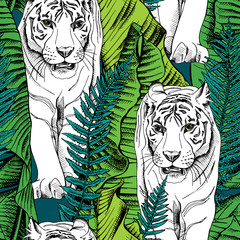 Seamless pattern with image of a white tiger walking in green banana leaves and fern. Vector illustration.