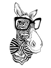 Zebra portrait in a striped tie with a glasses. Vector illustration.