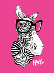 Zebra portrait in a striped tie with a glasses on a pink background. Vector illustration.