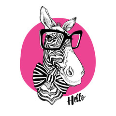 Zebra portrait in a striped tie with a black glasses on a pink background. Vector illustration.